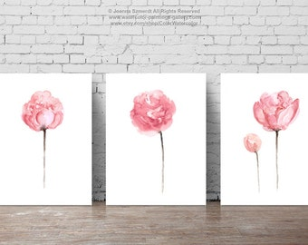 Peony Watercolor Painting Shabby Chic Home Decor, Abstract Flowers Art Print Light Pink Baby Girl Floral Nursery Room Set 3, Flower Wall Art
