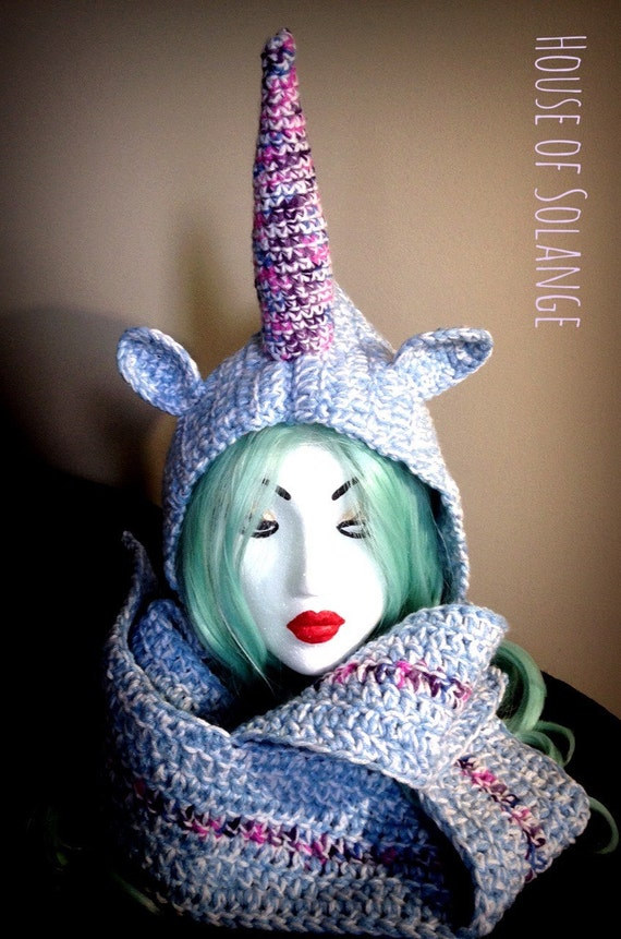 Unicorn hooded scarf, Hooded scarf, Crocheted scarf, Unicorn scarf ...