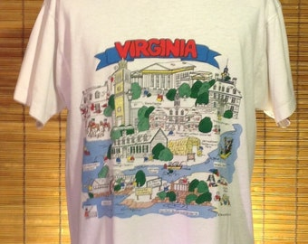 Vintage 1991 XL Virginia souvenir t-shirt. Wonderful illustration graphics of important spots and landmarks on front and back. Artwork by Ba