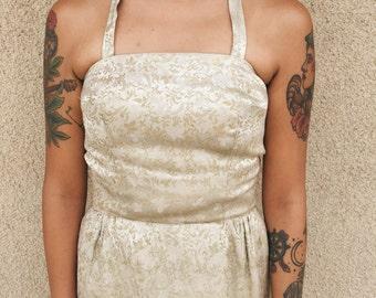 Vintage 60s Golden Brocade Party Dress