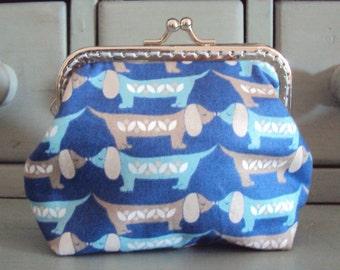 Sausage dog purse, daschund dog purse, blue kiss lock purse