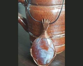 Copper wire wrapped Cabachon pendant