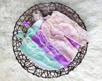 Stretch Lace Newborn Pants and Lace and Pearl Tieback Headband, 5 Colors, Newborn Photo Prop, Baby Photo Prop, Lavender, Light Blue, White .