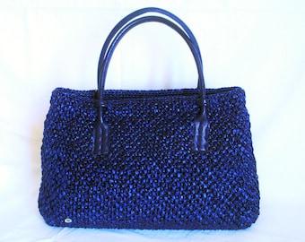 Bag blue raffia
