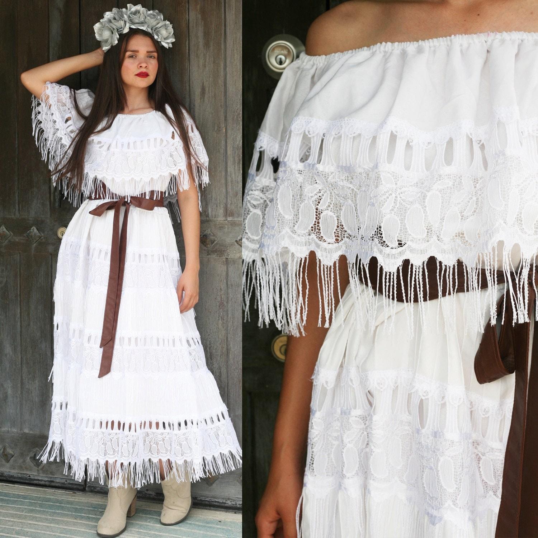 Mexican wedding dress bride bridal lace off shoulder fringe for Dresses for mexico wedding