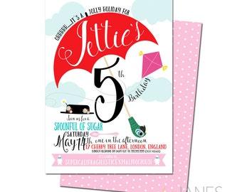 "Mary Poppins Inspired Birthday Invitation | Mary Poppins Shower Invite | Mary Poppins Printable - 5X7 with *bonus reverse side"""