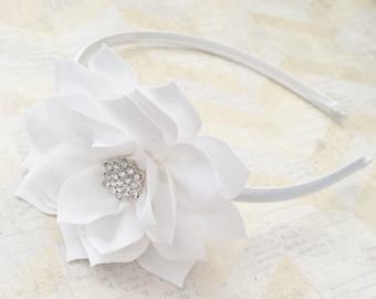 Hard white headband,flower headband,flower girl headband,flower girl,satin headband,girls headband