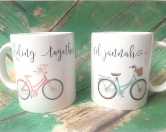 Riding together til Jannah couple mugs, muslim wedding set, anniversary gift