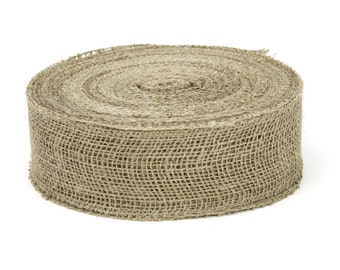"2.5"" x 50 Yard Natural Burlap Ribbon with Sewn Edge- Great for Rustic Wedding Decorations, Crafts, Gift Wrap, and Bows - (BRHB25-12)"