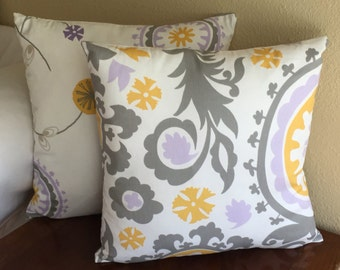 Dorm or Home Pillow Covers for Dorm or Home in Purple, Gray and Yellow Suzani and Floral