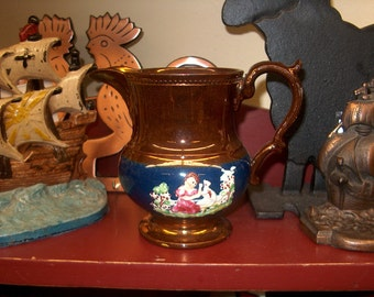 Antique Vintage Copper Lustre Pitcher with Colored Figurine. WAS 45.00 - 20% = 36.00
