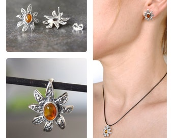 Silver pendant and earrings with amber 925