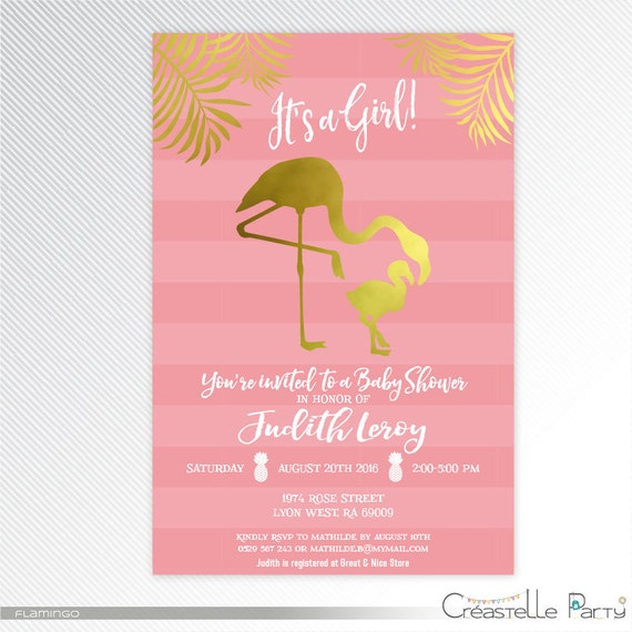 flamingo baby shower printable invitation gold and pink stripes