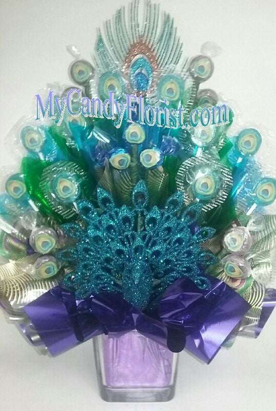 PEACOCK Candy Bouquet Centerpiece LIMITED ADDITION Includes