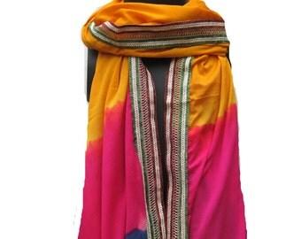 Multicolored scarf/ silk scarf/ border scarf / tie and dye scarf/ long scarf/ gift scarf / gift ideas.