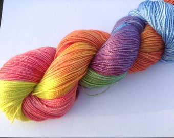 hand dyed yarn 4ply sock weight. sparkle, country rainbow