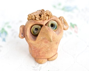 Strange Creature - Big Nose Head - Folk Art - Ceramic Sculpture Figure