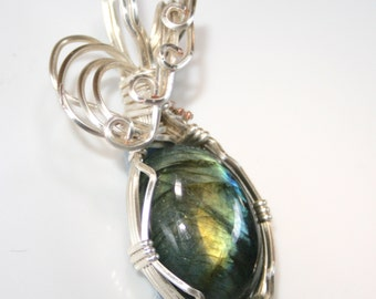 Desiree - A Labradorite Pendant, Labradorite Jewelry, Wire Wrapped Pendant, Wire Wrapped Jewelry