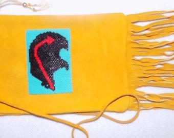 Gold Deerskin pouch(heart line bear)