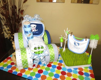 Tractor Diaper Cake, Baby Shower Diaper Cake, Fancy Baby Shower Gift