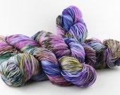 Hand dyed yarn,  100%  Super wash Merino, 4 ply, fingering weight, 438 yards, 'Morning Glory'