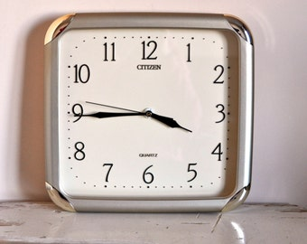 Vintage Citizen Quartz Clock -  Silver Retro Wall Clock