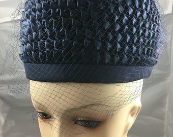 1950's navy blue straw pillbox hat