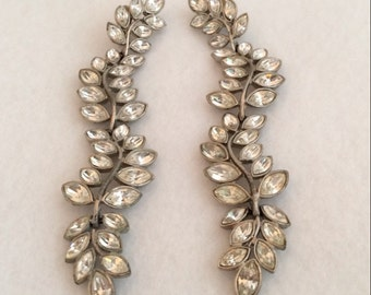 KJL Kenneth Lane Runway Long Dangle Chandelier Clear Rhinestone Bezel Set Vintage Earrings Designer Signed