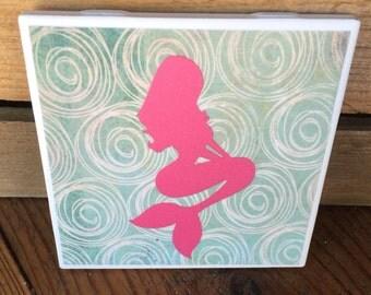 Mermaid Coasters, Beach Drinkware, Mermaid Drinkware, Pink Mermaid Coasters, Set of 4 Coasters