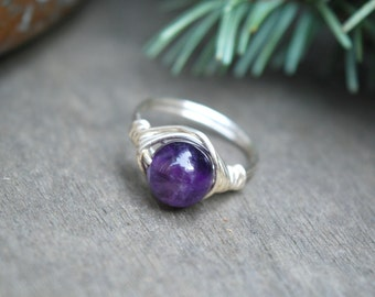 Amethyst Wire Wrapped Ring (Free shipping in Canada!)