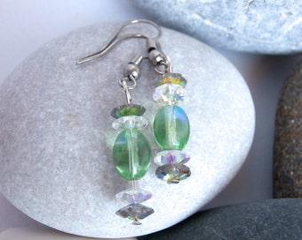 Swarovski Elements - Crystal Earrings - Repurposed