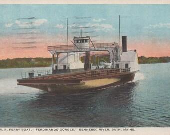 "MCRR Ferry Boat ""Ferdinando Gorges"" Kennebec River, Bath, Maine, 1931 Used Postcard,  fair shape"