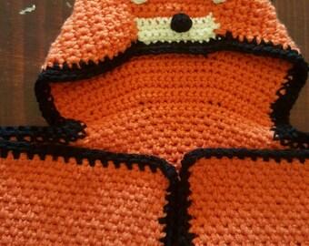 Crochet hooded blanket