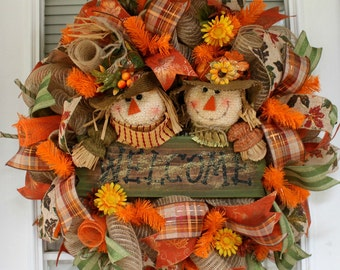 Scarecrow Wreath, Fall Wreath, Scarecrow Wreath, Deco Mesh Wreath, Wreath, Welcome Wreath, Front Door Wreath