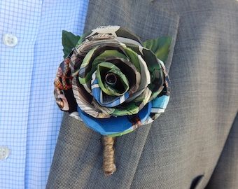Comic Book Paper Rose Boutonnière, Super Hero Boutonniere, Custom Paper Wedding Flowers, Dallas Handmade Paper Flowers