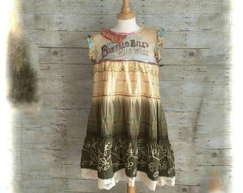 SALE Pink Sunshine Shabby Wild West cowgirl upcycled embroidered knit floral rustic Boho altered Clothing dress top tunic artsy lagenlook SM