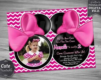 MINNIE BOWTIQUE CHEVRON Invitation, Minnie Bowtique, Invitation, Minnie Invitation, Minnie Birthday, Minnie Mouse Invitation