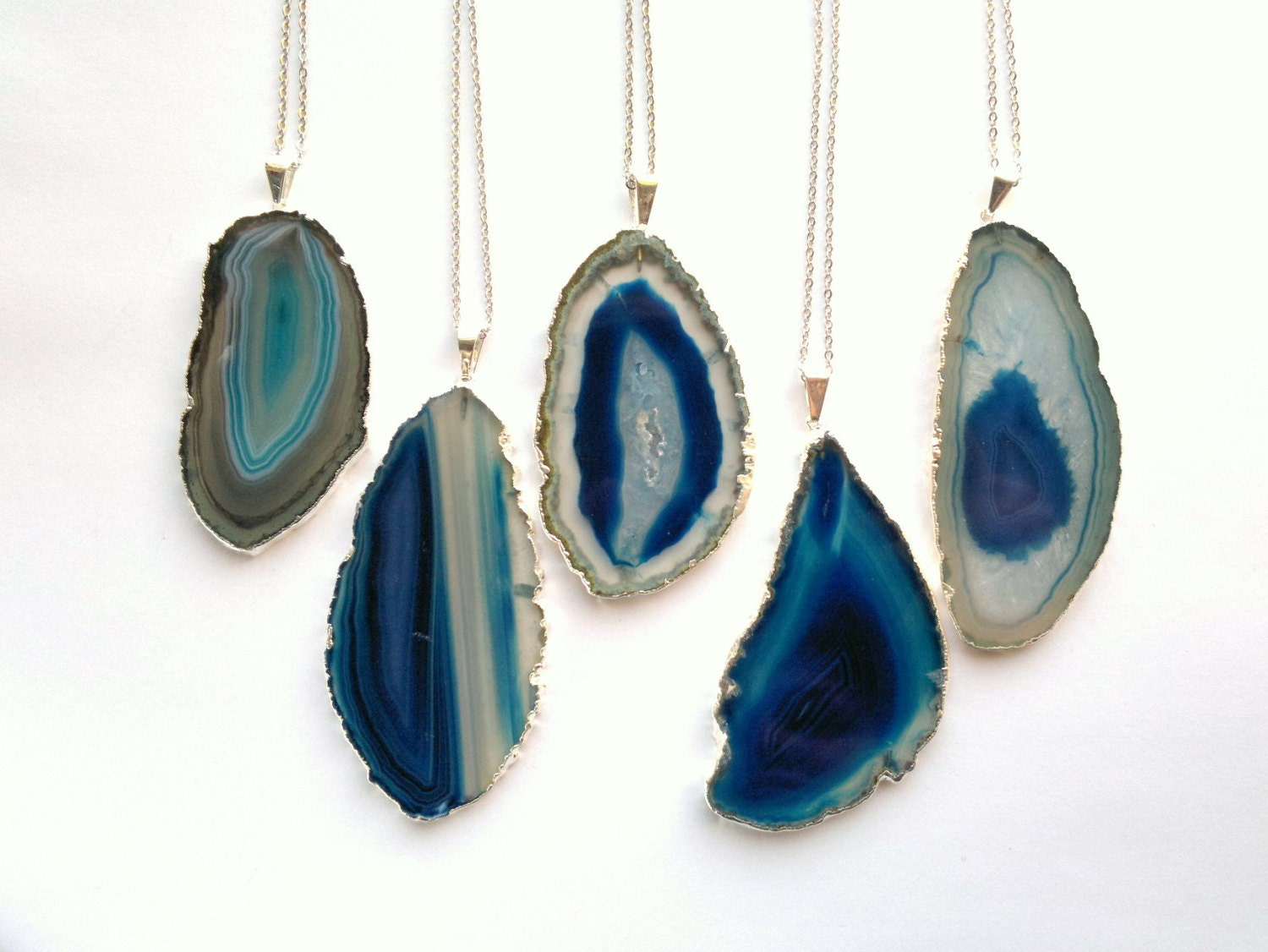 Blue Agate Slice Necklace Geode Necklace Silver Edge Agate