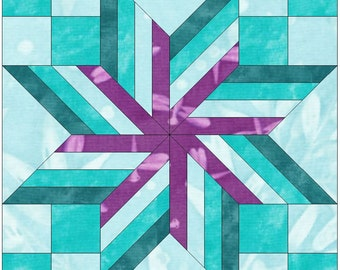 Wrapped Star 15 Inch Paper Template Quilting Block Pattern PDF
