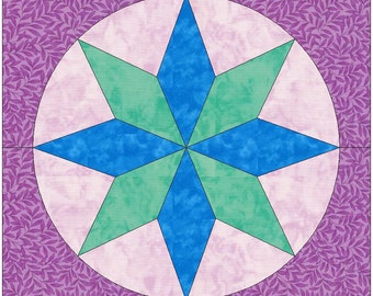 Royal Diamonds Star Paper Piece Template Quilting Block Pattern PDF