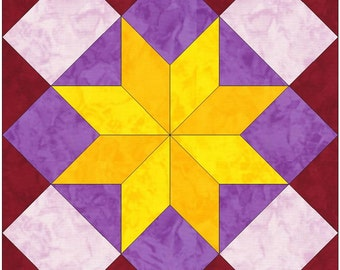 Boxed Star Paper Piece Template Quilting Block Pattern PDF