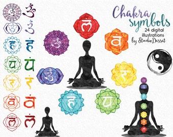Watercolor Chakras Clipart, New Age Illustrations, Rainbow Mandala, Chakra Body Printable Namaste Graphics - Personal & Commercial Use