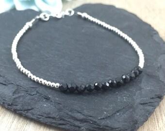 Black Spinel Bracelet, Dainty, Skinny, Thin, Stacking Bracelet in sterling silver