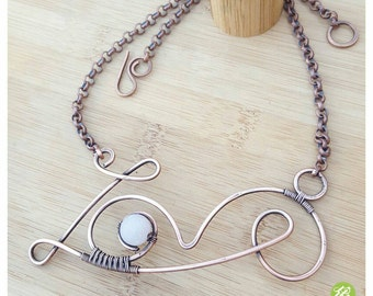 Wire rose quartz necklace, wire wrapped necklace, rose quartz collar, gemstone necklace, rose quartz jewelry, wire love necklace handmade