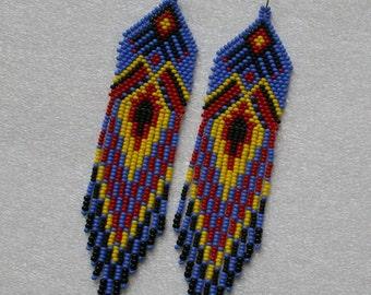 Long Indian style beads earrings ,  tribal style, boho style, Native American Beaded Earrings