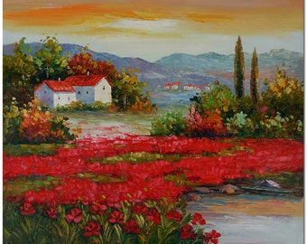 Signed Hand Painted Impressionist Tuscan Landscape Painting On Canvas Fine Art CERTIFICATE INCLUDED