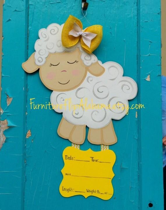 Lamb baby hospital door hanger its a girlhospital wreath for Baby boy hospital door decoration