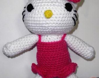 Hello Kitty Inspired Crocheted Stuffed Toy