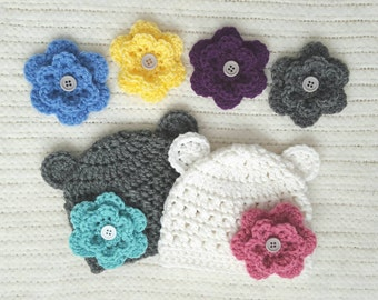 Crochet baby beanie, interchangeable flower hat, baby girl gift, twin girl gift, crochet baby hat, newborn photo prop, bear newborn hats