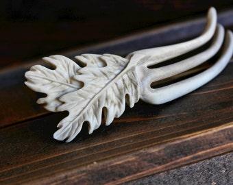 Oak Leaf Hair Fork - Carved from Shed Deer Antler - Three Pronged